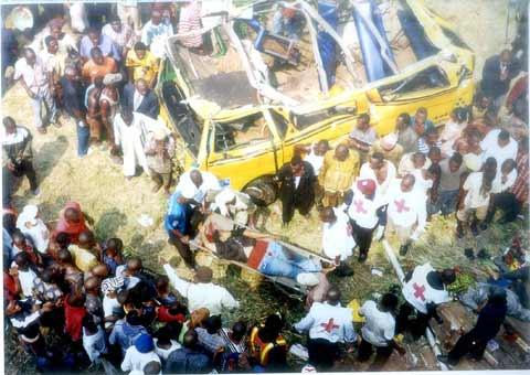 An accident scene in Lagos.