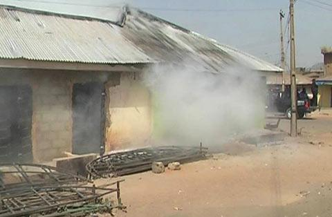 Billowing smoke from a burnt house in Jos...yesterday