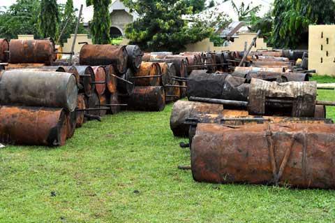 The  make shift local refineries.