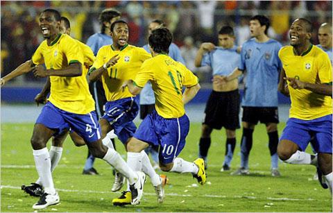 The Samba boys celebrating their victory over Uruguay on their way to South Africa 2010. The real challenge begins today against North Korea.