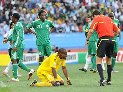 The Super Eagles at the 2010 World Cup.