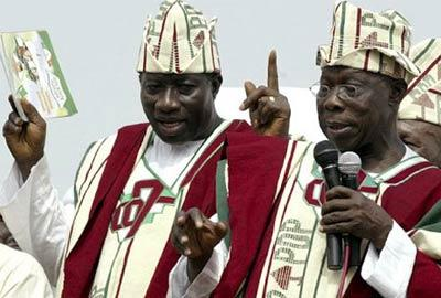 The then Vice-Presidential candidate Goodluck Jonathan campaigning with then President Olusegun Obasanjo in 2007.