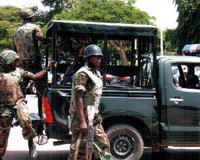Soldiers on patrol in Kano