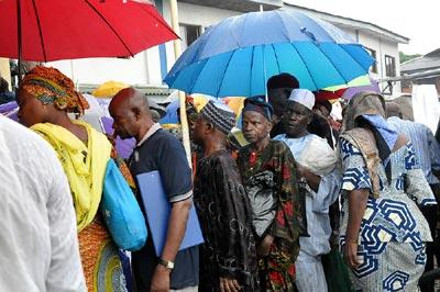 *Pensioners queuing for verification
