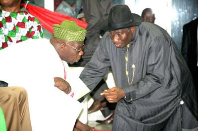 File photo: When the going was good: Obasanjo and President Jonathan, putting heads together at the PDP convention.