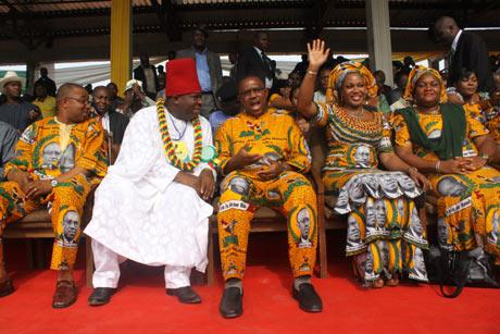 Gov. Peter Obi (middle), flanked on the left by the National Chairman of APGA, Chief Victor Umeh and the Deputy Governor of Anambra State, Engr. Emeka Sibeudu and on the right  by  the Gov's wife, Margaret Peter-Obi and Wife of the National Chairman, Lady Prisca Umeh at the Flag-off of APGA Campaign, yesterday at Ekwueme Square, Awka.