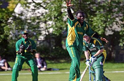 HOWZAT!! Nigerian cricketers in an ecstatic gesture