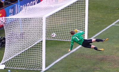 CONTROVERSY: There was controversy during the World Cup game between Germany and England when Frank Lampard's shot went over the line-but was disallowed.