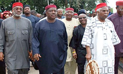 Dr Alex Ekwueme, Chief Achike Udenwa, Dr Samuel Egwu, Senator Ben Obi and Others during an Igbo Summit