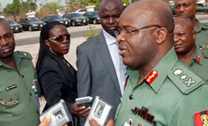Lt General O. A Ihejirika, Chief of Army Staff, Nigerian Army speak to press