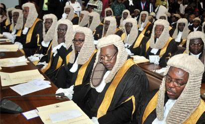 Cross section of new Senior Advocates of Nigeria at their inauguration in Abuja on Friday