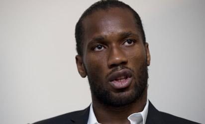 Didier Drogba attends a press conference. AFP PHOTO