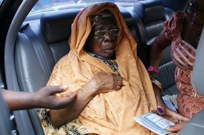 Alhaja Abibatu Mogaji, Asiwaju Bola Tinubu, ACN leader's mother casting  her vote at  Alausa Ikeja,during the Local Government Election yesterday.