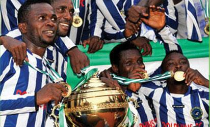 WORTHY CHAMPIONS: Players of Dolphin FC of Port Harcourt rejoice after winning the 2010/2011 NPL Leaque