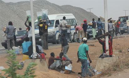 Street traders on the Expressway in Abuja