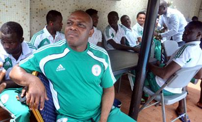 Super Eagles Head Coach, Stephen Keshi with Home Based Super Eagles at a News Conference at the Eagles' Camp in Abuja