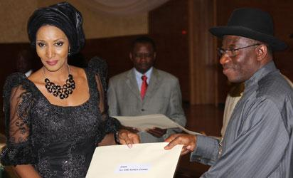 President Goodluck Jonathan presenting a letter to Amb. Bianca Odumegwu-Ojukwu as Head of Mission to Spain as Ambassadors-Designate were presented their letters of credence in a brief ceremony at the Banquet Hall, State House, Abuja. Photo by Abayomi Adeshida 12/06/2012