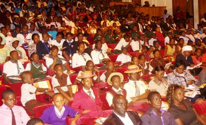 The 4th Annual Vanguard's Children's Conference, Moulding Nigerian Child, Africa's Pride Theme; Child Abuse; Enforcing the Child's Rights for a peaceful Nation Organised by Vanguard in collaboration with Lagos State Government and Centre for Black African Arts & Civilization (CBAAC) took place at the Muson Centre in Lagos  yesterday     Px shows Cross section of participating students at the ceremony      Px   Joe Akintola (Photo Editor), Kehinde Gbadamosi  Bunmi Azeez, and Folake Odebiyi