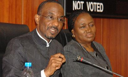 N5,000 NOTE: Mallam Sanusi Lamido Sanusi, Governor, Central Bank of Nigeria, CBN (right) and CBN Deputy Governor, Serah Alade, at a briefing on the introduction of N5,000 note, with image of three Nigerian women, to be introduced in 2013, in Abuja. PHOTO: Gbemiga Olamikan.