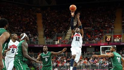 Kobe Bryant of the United States shoots in the first half during the men's Basketball match against Nigeria on Day 6 of the London 2012 Olympic Games. Photo:London2012.