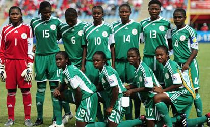 The Nigeria Team Group during the FIFA U17 Women's World Cup match between Nigeria and North Korea at the Hasley Crawford Stadium on September 5, 2010 in Port of Spain, Trinidad And Tobago. (Photo by Laurence Griffiths - FIFA/FIFA )