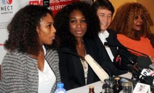 FROM LEFT: TENNIS STARS; SERENA AND VENUS WILLIAMS; MARKETING DIRECTOR, NIGERIA BREWERIES PLC, MR WALTER DRENTH, AND MOTHER OF WILLIAMS SISTERS, ORACENE PRICE, AT THE WORLD PRESS CONFERENCE IN LAGOS ON WEDNESDAY (31-10-12).
