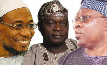Aregbesola: Incumbent, Oyinlola: Immediate past governor and Omisore: Gearing up