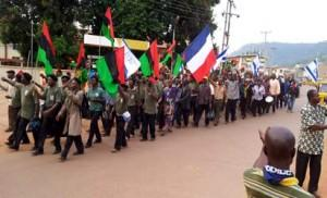 *Members of Biafra Zionist Movement during a procession shortly before the re-declaration of independence of Biafra Republic by the group in Enugu, yesterday.