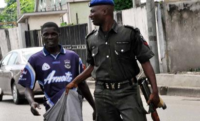 An okada rider arrested by Fashola's security aide for riding against traffic  on Hubert Macaulay way,Yaba, Lagos Tuesday.