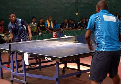 A table tennis game between Rivers state and  Delta State on the second day of the 18th National Sports Festival in Lagos. PHOTO; Kehinde Gbadamosi.
