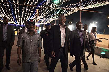 Governor Babatunde Fashola of Lagos State (2nd left) with other state officials during the switching on of the Festival of Lights, last Thursday night, in Lagos.