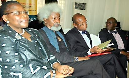 *From (L-R) Former Education Minister, Dr Oby Ezekwesili, the author, Prof. Wole Soyinka, moderator Dr. Kaniolu Ajayi and a guest at the event