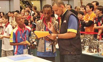 Alofos Team displaying their robotic skills at the World Robot Olympiad