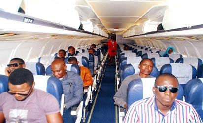 Passengers on board Dana Air Abuja - Lagos flight shortly after take off