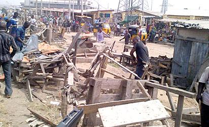 One of the demolished illegal squatters at Orile area, Lagos
