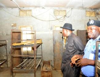 File: Jonathan in  Police college hostel in Lagos