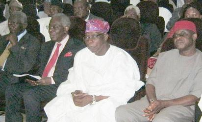From right: Senate President, David Mark; former president, Olusegun Obasanjo; former ING chairman, Chief Ernest Shonekan, and ex-president of Ghana, John Kuffuor  at the event.