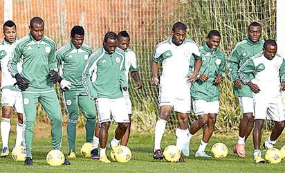 GETTING SET... Super Eagles players perfecting strategies for the Africa Nations Cup which kicks off today in South Africa. Former team captain, Rufai believes the team will do well while Chief Gabriel Chukwu, Gabros FC proprietor is charging them to give a good account of themselves.