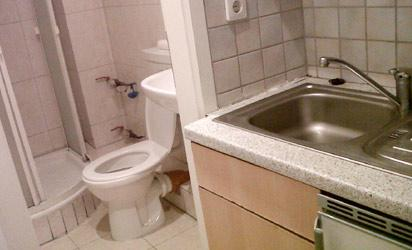 Toilet and  kitchen sink