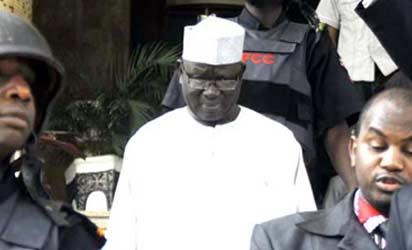 Pension Scam— Former Director of Pension, Police Affairs Ministry, John Yakubu Yusufu heading to Kuje Prison over N300 million scam, yesterday. I