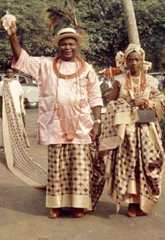 *Chief Festus Okotie-Eboh (with his flamboyant wrapper) and his wife during Queen Elizabeth II visit to Nigeria in 1956