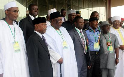 Representative of the President, Navy Capt. Caleb Olubolade (rtd) flanked by the Chairman of the Eevent, Alhaji Gambo Jimeta (3rd left) and the Inspector Genral of Police, Alhaji Mohammed Abubakar while the Interior Minister, Comrade Abba Moro (2nd right); Publisher Vanguard, Mr. Sam Amuka (2nd left) and other dignitaries at the opening of the National Summit on Security Challenges in Nigeria held at the African Hall, International Conference Centre, Abuja, Tuesday. Photo:Abayomi Adeshida.