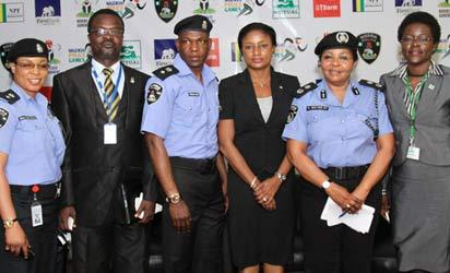 L:R - CSP Chioma Ajunwa, Mr. Ade Adesina, CSP Frank Mba, Mrs Bridget Oyefeso Odusanmi, CP (Dr) Abimbola Macaulay, and Mr. Offo at the Police Games Press Conference held in Lagos on Wednesday.