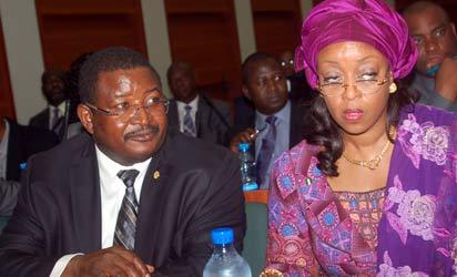 Public Hearing: From left, Group Managing Director of NNPC, Engineer Andrew Yakubu with Minister of Petroleum Resources, Mrs. Diezani Alison Maduekwe, during the public hearing of the Joint Committee on Petroleum Resources Upstream and Downstream on the N1.56 billion proposed NNPC Loan, at the National Assembly, in Abuja, Monday. Photo by Gbemiga Olamikan.