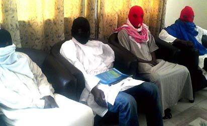 File photo: Members of Boko Haram splinter group during a news conference in Maiduguri, recently where they insisted on a cease-fire. Photo: Nan.