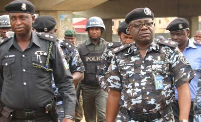 Lagos State Commissioner of Police, Mr Umar Manko  at the scene of the blast