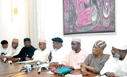 Sen Chris Ngige, Kabiru Gaya, George Mughalu, CPC merger committee chairman, Garba Gadi, Tom Ikimi, Ibrahim ahekarau, Segun Osaba and Ahmed Yerima during the unveiling of the new party name in Abuja Wednesday.