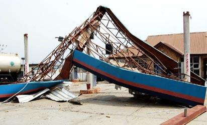 One of the affected buildings (a petrol station)