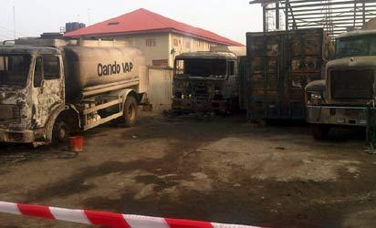 Some of the burnt trucks.