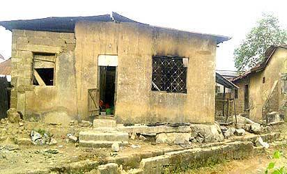 *Torched Egungun house in Ijaiye, Abeokuta